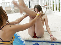 Petite Ivana Fukalot with small melons is kissing her cutie