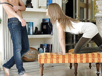 Teen at home in the kitchen gets on table for an ass fuck