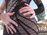Sultry cock sucker Summer is having deep anal fuck outdoors