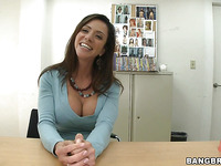 Gorgeous brunette Ariella Ferrera is having fuck with her new boss