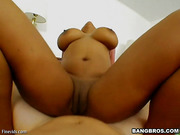 Black chick Kitten with big tatas is riding on white dick
