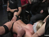 Public gangbang for pretty blonde slut