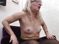 Slutty blonde mature doll was bored and is playing