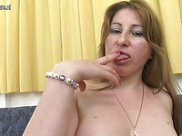 Hot milf bitch is getting very filthy playing with her body