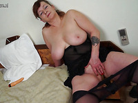 Mature dirty lady loves playing with her slutty huge boobs