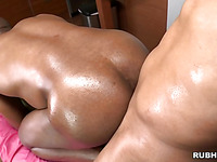 Muscular gay is getting his tight anal pounded in the doggie style